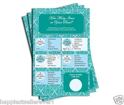 50 whats in your purse hunt game sheets bridal baby shower blue teal damask