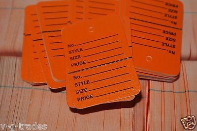 LOT 1000 ORANGE  BUNDLE Small Perforated Unstrung Price Merchandise Store Tags