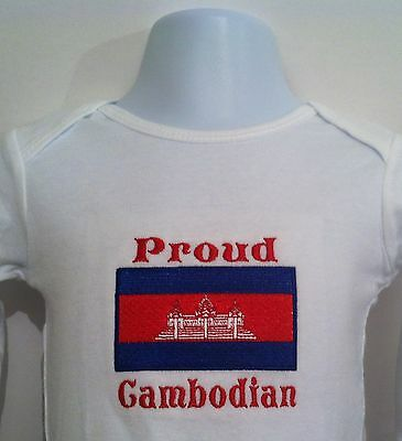 Proud Cambodian. Cambodia Flag. Baby Bodysuit Embroidered