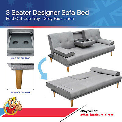 3 Seater Linen Sofa, Fabric Lounge, Sofa Bed, Convertible, Grey Lounge, Cup Tray