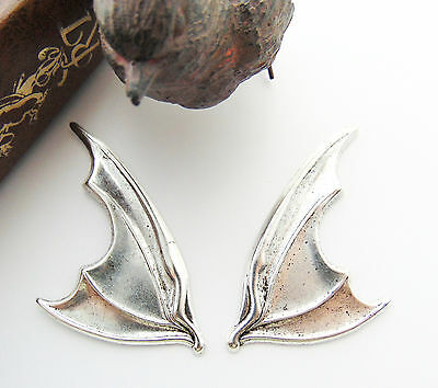 SILVER Gothic (1 Pair) Bat Wings Stamping ~ Antique Silver Findings (C-1408)
