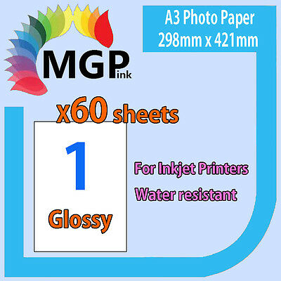 60 sheets of OEM A3 120gsm White Glossy Photo Paper Inkjet Printer