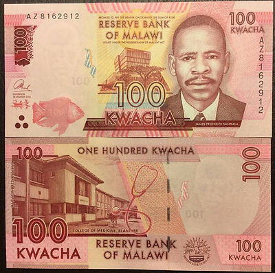 Malawi 100 Kwacha 2016 P New Blind Feature Unc