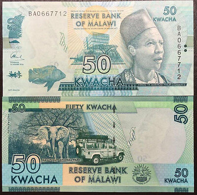 Malawi 50 Kwacha 2016 P New Blind Feature Unc