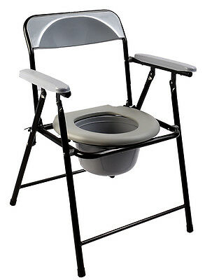 2016New steel medical Discreet Bedside foldable commode toliet chair blackDY2899