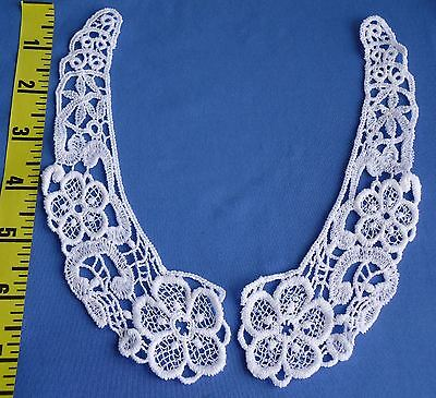 Venise Venice Black Lace Applique Collars Bridal 2 pcs Stunning Vintage #5511b
