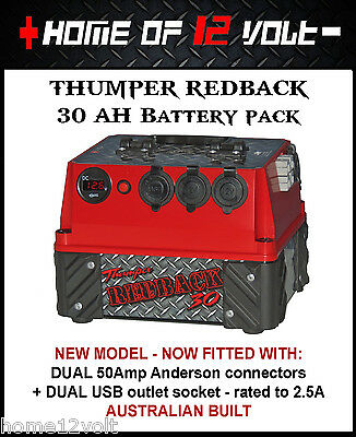 Thumper Redback 30 AH AGM Pack Portable dual battery system USB ENGEL CIGARETTE