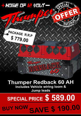 Thumper Redback 60 AH AGM Pack Portable dual battery system USB ENGEL CIGARETTE