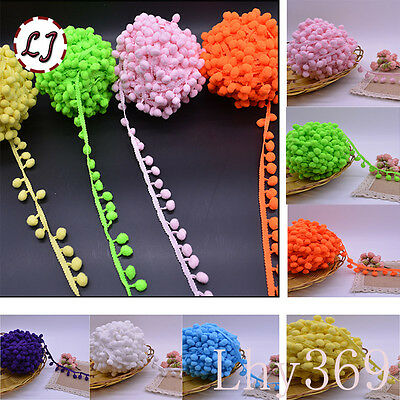 Ball Pom Pom Bobble Trim Braid Fringe Ribbon Edging Craft Decoration B073
