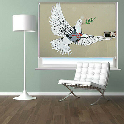 Printed Picture Roller Blind Banksy Armoured Peace Dove Blackout Window Blind