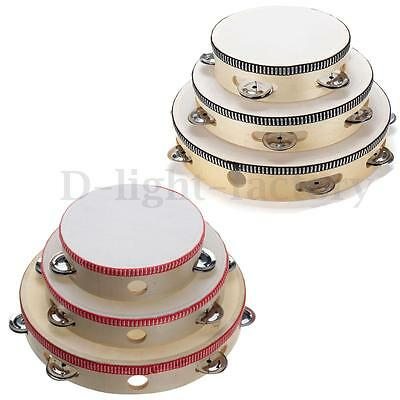 6''/8''/10'' Hand Held Tambourine Drum Bell Metal Musical Toy Round Percussion