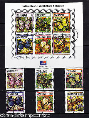 Zimbabwe - 2007 Butterflies (3rd Series) - CTO Used - SG 1234-9 + MS1240