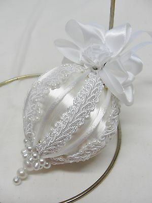 Handmade Christmas Tree Ornament White/White Pearl Trim & Satin Ribbon Bows