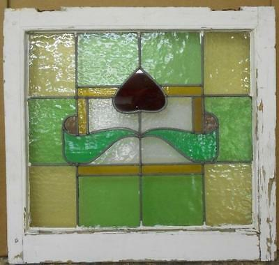 "MID SIZED OLD ENGLISH LEADED STAINED GLASS WINDOW Floral Squares 23.25"" x 22"""