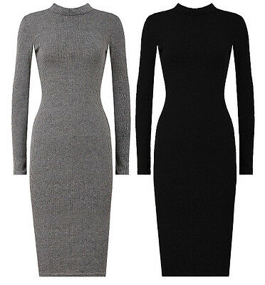 New Womens Turtle Neck Soft Knitted Long Sleeve Ladies Midi Jumper Dress