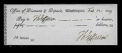 Thomas Jefferson Autograph Reprint On Reproduction Of Personal Check