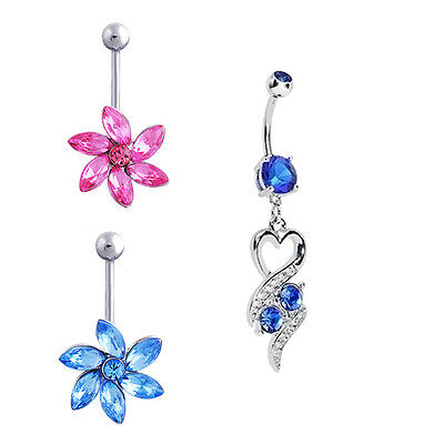 Wholesale Lot  4 Pieces Dangle Belly Button Rings 14G Navel Piercing Jewelry