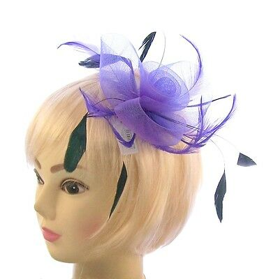 Purple with black coq feathers fascinator clip, Weddings, Races or Ladies Day