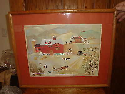 Vintage Folk Art Print American Homestead by Gaydos (?) Signed & Framed Barn