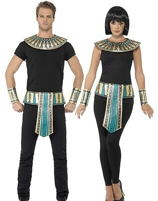 Egyptian Cleopatra Kit Belt Collar Cuffs Ladies Gold Fancy Dress Accessories
