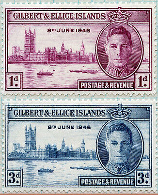 GILBERT & ELLICE ISLANDS 1946 -8 June VICTORY issues SET of 2- MLH  [921]