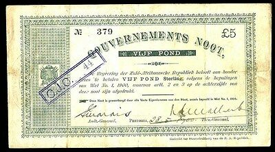 1900 SOUTH AFRICA 5 POUNDS ANGLO- BOER WAR TIME INTEREST BEARING NOTE KP #55a