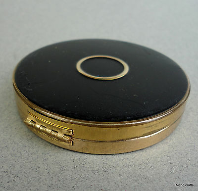 Charles of The Ritz Pressed Powder Compact Vanity Case Rubbery Enamel Black Vtg
