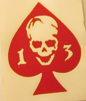"Ace of Spades 13 Skull (3"" x 3.75"") Vinyl Decal Sticker (Made in the USA)"