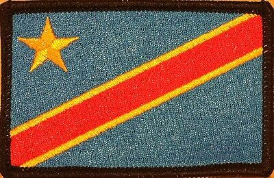 Democratic Republic of the Congo Flag Iron-On Military Patch White Border #04