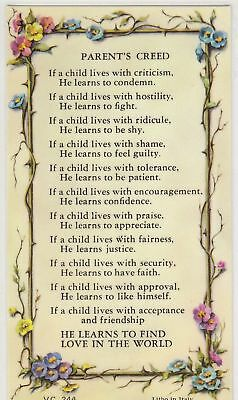 Parent's Creed Laminated Prayer Card, Holy Card 68mm x 120mm  (Verse Series)