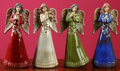 Ceramic Holly Leaves ANGEL Figurine-Priced Each-Your Choice of Color