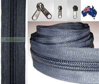 No 10 Grey Heavy Duty Sewing on Tent, Bag Camping Continuous Zipper, Zip Meter