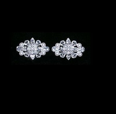 Gorgeous Victorian Bar Rhinestone & Pearl Shoe Clips Charms--1 Pair-Bridal Party