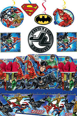 Justice League Party Kit For 16 Tableware Supplies & Decorations Boy Birthday