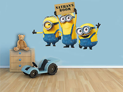 Personalised MINIONS Inspired Full Colour Wall Art Sticker Decal Boys Girls Room