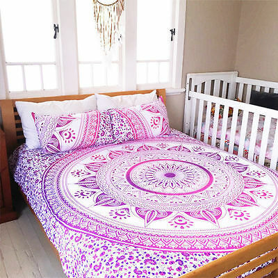 Ombre Mandala Duvet Doona Cover Cotton Quilt Cover Indian Blanket With Pillow