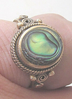 Victorian Abalone Mother Of Pearl Filigree Pinchbeck Ring Size 7.75 Hand Crafted