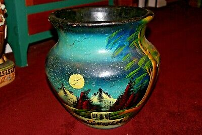 Vintage Terra Cotta Pottery Planter W/Hand Painted Scene-Trees Water Mountains