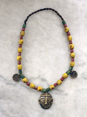 Antique beaded NAGA necklace with brass mask