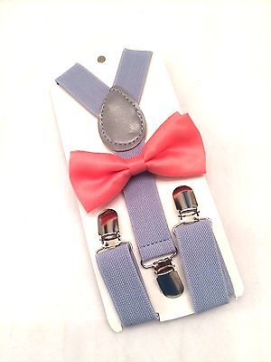 Kids Boys Gray Suspenders & Coral Bow tie SET 6 mon- 5yr
