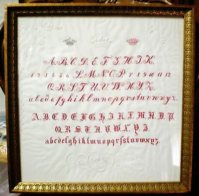 "Antique Victorian Needlework Sampler ""Household-Linens"" embroidery 1871 RARE"