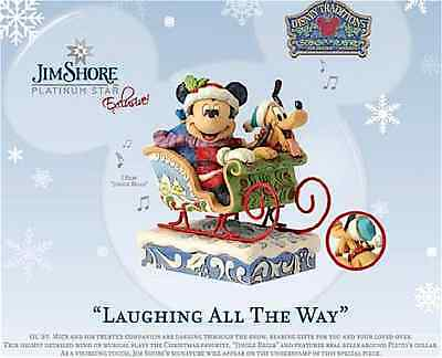 Disney Jim Shore Christmas Mickey Mouse Pluto In Sleigh New 2016  4052003 Music