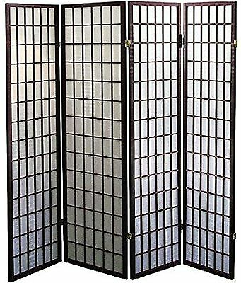 "Legacy Decor 4-Panel Shoji Screen Room Divider, Espresso Finish 71""H X 70""W"