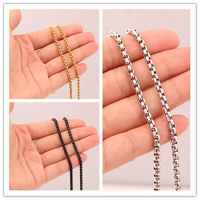 "16""-40""CHOOSE  Stainless Steel Mens Women's Box Round Chain Necklace 3mm Jewelry"