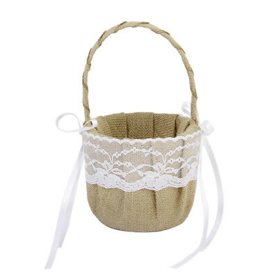 Vintage Rustic Country Style Wedding Burlap Hessian Lace Flower Girl Basket