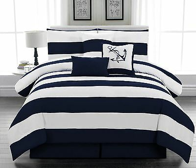 7 pcs Microfiber Nautical Comforter set Navy Blue Striped Full, Queen, King