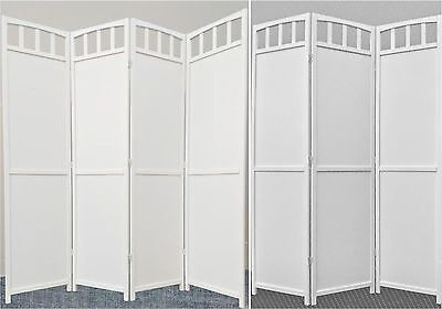 Legacy Decor Solid Wood Room Screen Divider, White Finish, 3 or 4 Panel