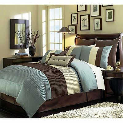 Beige Blue-Teal and Brown Luxury Stripe 8 Piece King Size Comforter Set