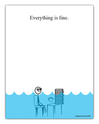 Everything is Fine, Funny Office Supplies - Desk Gag Gift Pad for Boss, Coworker