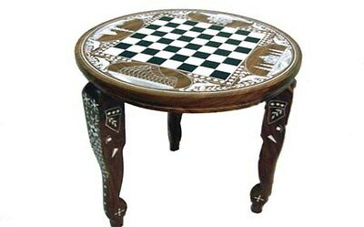 Wooden Chess Board Taj Mahal Inlaid Carved Work Coffee Round Table Foldable New